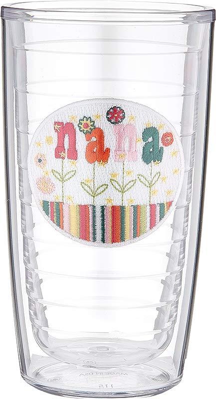 Tervis 1046198 Hallmark Nana Flower Insulated Tumbler With Emblem 16 Oz Tritan Clear