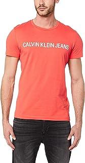 Calvin Klein Jeans Men's Institutional Logo Slim Fit T-Shirt, Coral/WHT, L