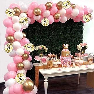 اكليل بالونات للتزيين باللون الزهري، بالونات معدنية باللون الزهري والابيض على شكل قوس، قصاصات ذهبية، بالونات اللاتكس المحش...
