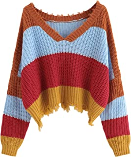 Floerns Women's Casual Drop Shoulder Knit Pullover Sweater