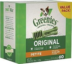 GREENIES Original Petite Dental Dog Treat, 1kg (60 treats), Puppy/Adult, Small