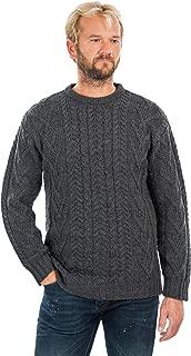 100% Merino Wool Men's Irish Traditional Aran Crew Neck Cable Knit Sweater Pullover