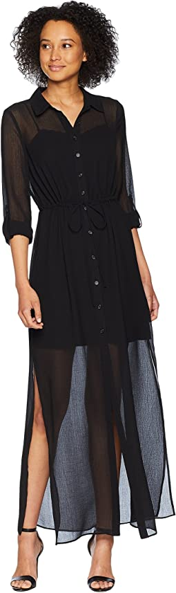 Spider Chiffon Shirt Maxi Dress
