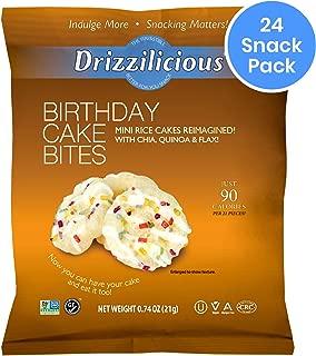 Drizzilicious Birthday Cake Snacks 24 Pack | Gluten Free Mini Snack Cupcake Rice Cakes | Vegan Air Popped Chia, Quinoa, Flax