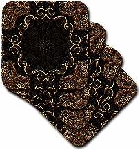 3dRose cst_113827_2 Elegant Gold Design on a Dark Chocolate Brown Damask Background-Soft Coasters, Set of 8