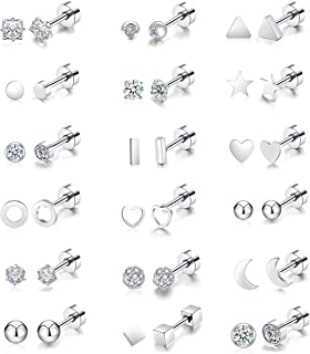 Vegolita 18Pairs 18G Stainless Steel Tiny Stud Earrings for Women Cartilage Heli