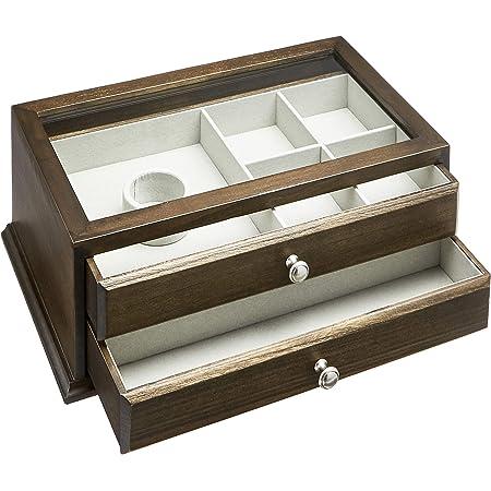 Amazon Basics Boîte à bijoux et montres en bois, dessus en verre, 2 tiroirs, couleur noyer