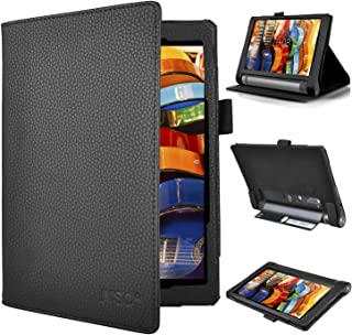 Lenovo YOGA Tab 3 8 case, KuGi ® Multi-Angle Stand Slim-Book PU Leather Cover Case with Hand Strap&Card Holder for Lenovo YOGA Tablet 3 8 inch tablet. (Black)