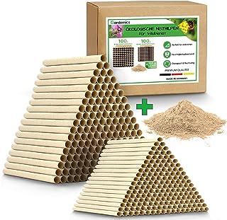 Gardemics !NEU! Pappröhrchen für Insektenhotel - Ökologische Nisthilfe für Wildbienen inkl. gratis Lehm - 200 Nisthröhren mit Durchmesser 6 & 8mm - Super Bausatz für Bienenhotel