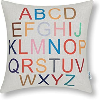 CaliTime Canvas Throw Pillow Cover Shell for Couch Sofa Teacher Home Decoration Colorful 26 English Letters 18 X 18 Inches