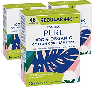 Tampax Pure Organic Tampons, Cotton & Chlorine-Free, Regular Absorbency, Unscented, 16 Count - Pack of 3 (48 Count Total)