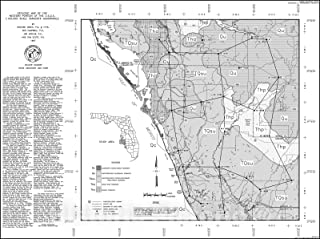 Historic Pictoric Map : Surficial and Bedrock Geology of The Western Portion of The U.S.G.S. 1:100,000 Scale Sarasota Quadrangle, South-Central Florida, 1997 Cartography Wall Art : 30in x 24in