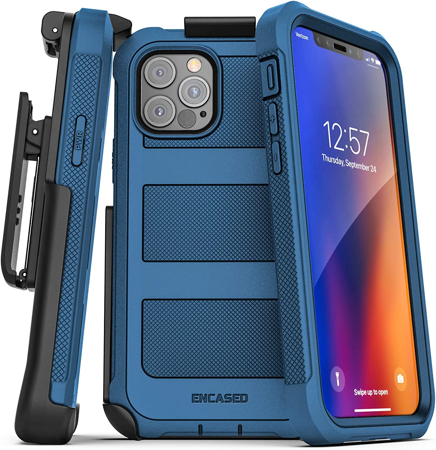 Encased Falcon Armor Compatible with iPhone 12 Pro Max Case with Screen Protector and Belt Clip Protective Full Body Cover with Built-in Screen Guard and Holster - Blue