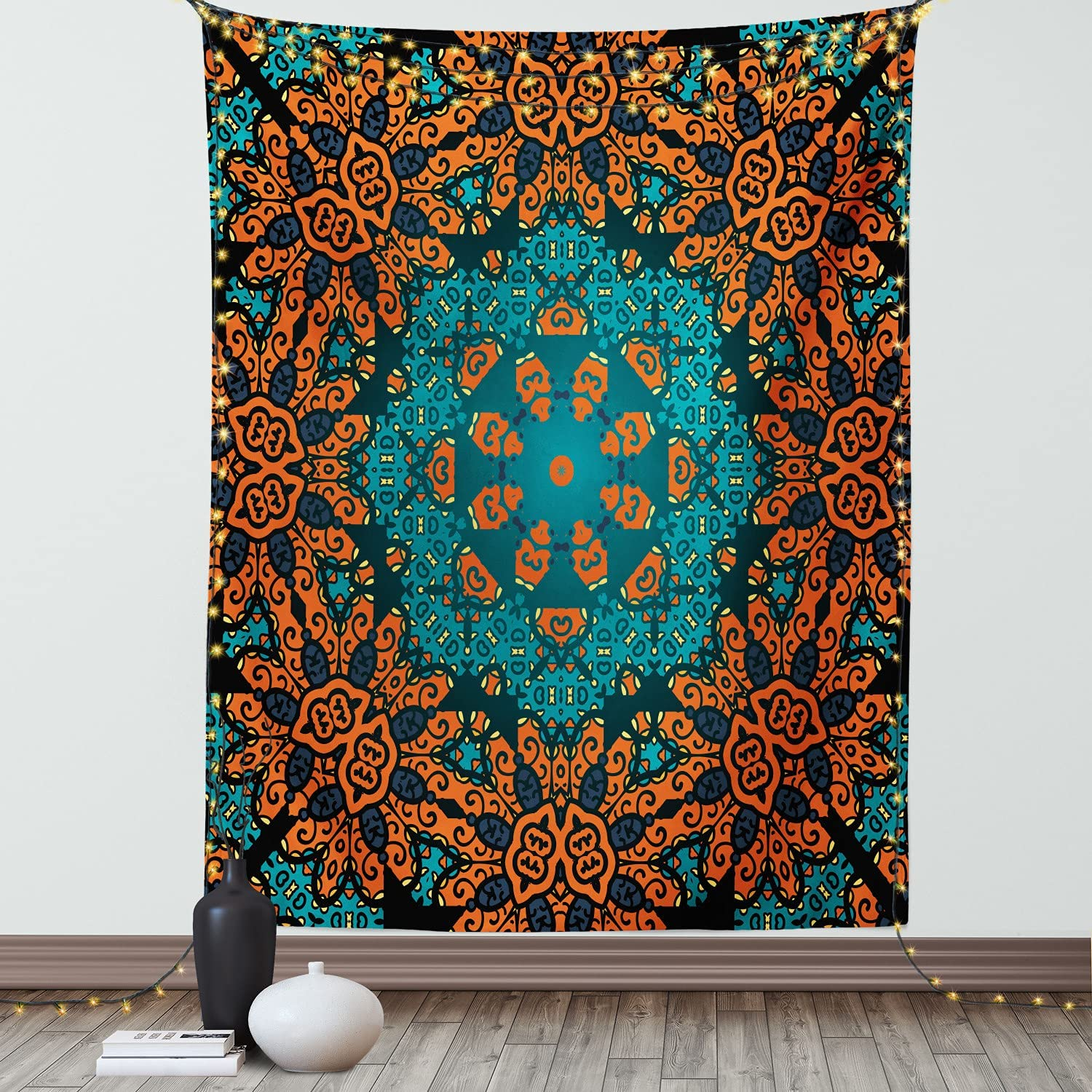 Amazon Com Ambesonne Psychedelic Tapestry Round Flowers Floral Patterns Surreal Motif Boho Hippie Style Image Wall Hanging For Bedroom Living Room Dorm Decor 40 X 60 Teal Orange Home Kitchen