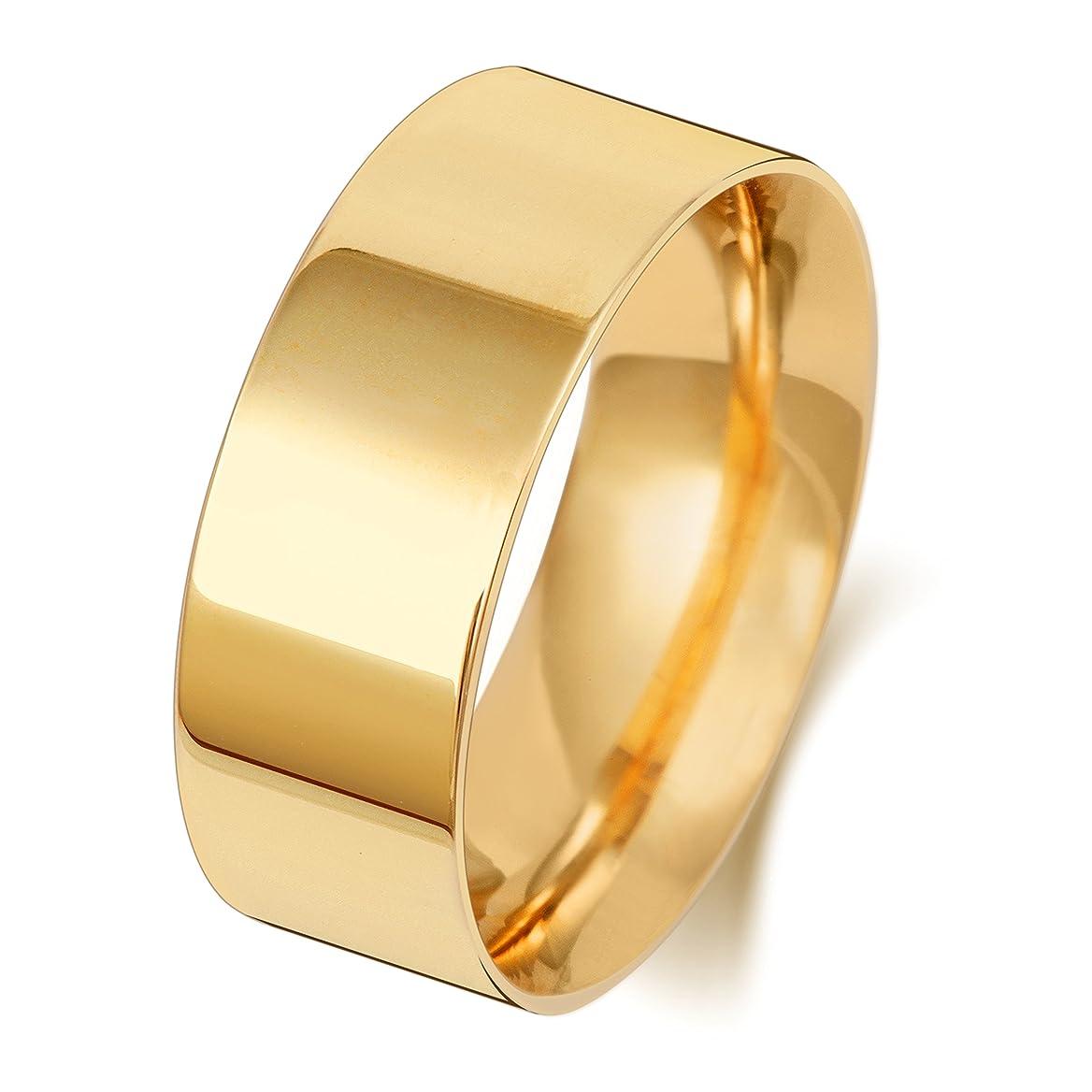 勘違いするバックグラウンドカフェ9K 9金イエローゴールド 8mm 男性 女性 ウェディングバンド マリッジリング(結婚指輪) WQS189789KY