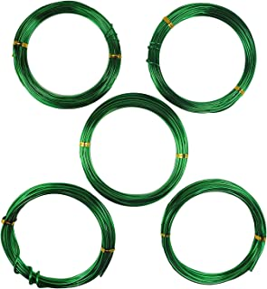 Aluminum Floral/Plant/Bonsai Tree Wire 5-Size Starter Set - 1.0mm, 1.5mm, 2.0mm, 2.5mm, 3.0mm (147 feet Total) - Choose Your Color (5 Sizes, Green)