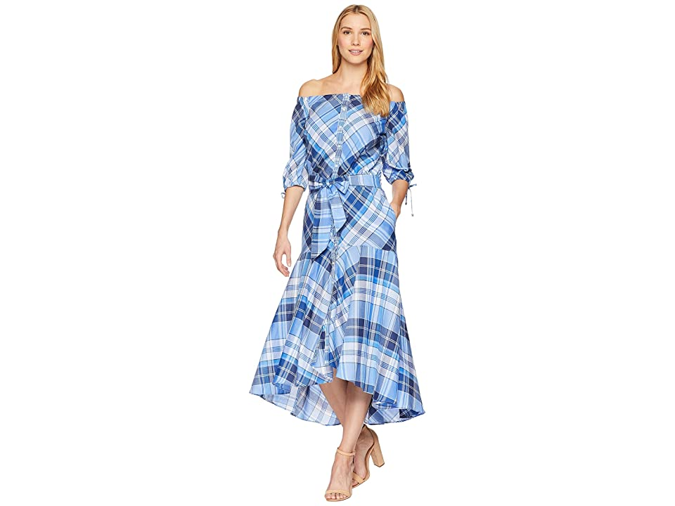 LAUREN Ralph Lauren Plaid Off the Shoulder Dress (Blue Multi) Women