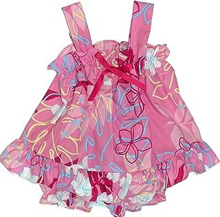 RJC Infant Girls Monstera Plumeria Line Art Ruffle 2pc Set