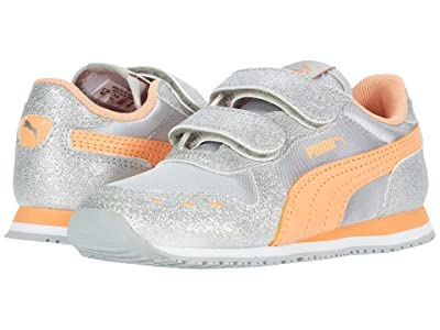 Puma Kids Cabana Racer Glitz V (Toddler) (Silver/Cantaloupe/White) Girls Shoes