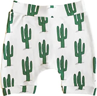 The Spunky Stork Green Cactus Organic Cotton Baby Toddler Harem Cropped Pants