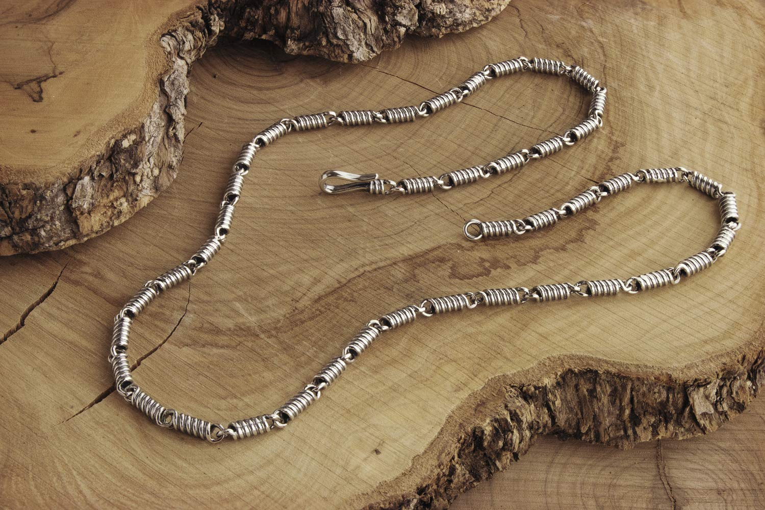 Spiral Sterling Silver Chain Coil Bombing Omaha Mall free shipping Necklace 925 Oxidized