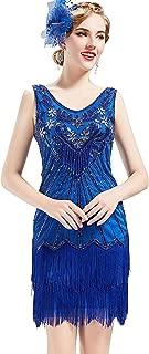 BABEYOND Women's Flapper Dresses 1920s V Neck Beaded Fringed Great Gatsby Dress