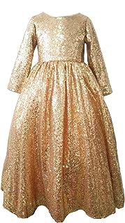 ed0b4b2507 Mrprettys Champagne Gold Sequin Flower Girl Dress Ankle Length Girls Party  Dress