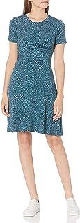 Amazon Brand - Lark & Ro Women's Short Sleeve Twist Front Fit and Flare Dress