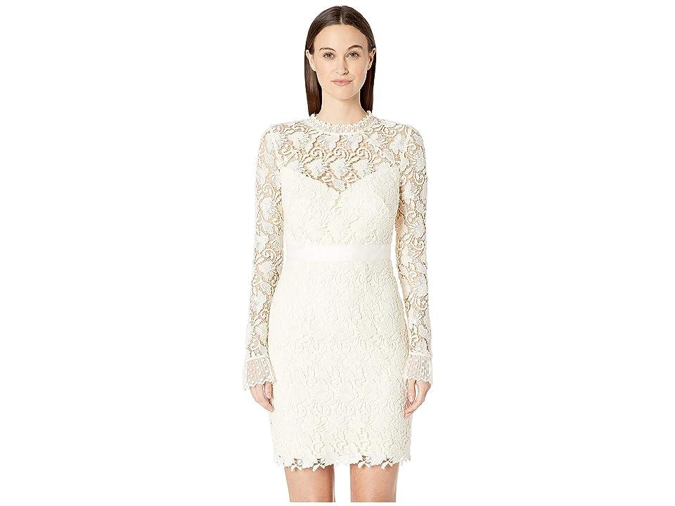 ML Monique Lhuillier - ML Monique Lhuillier Long Sleeve Lace Cocktail Dress