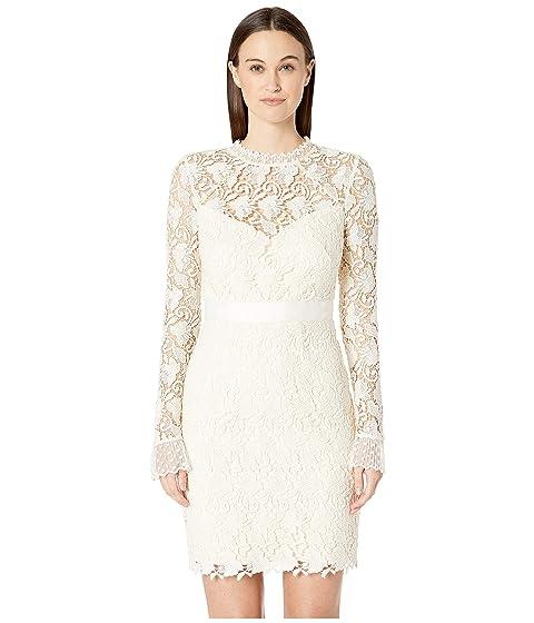 ML Monique Lhuillier Long Sleeve Lace Cocktail Dress