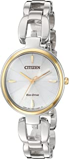 Citizen Women's 'Eco-Drive L' Quartz Stainless Steel Dress Watch, Color:Silver-Toned (Model: EM0424-53A)