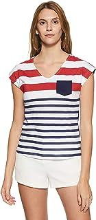 Unshackled Ladies Printed Stripe Tee 480 Women's Plain Regular Fit T-Shirt