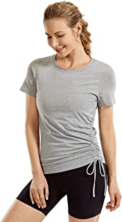 CRZ YOGA Women's Pima Cotton Lightweight Short Sleeves Yoga Shirt Side Ruched Athletic Workout Top