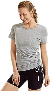 CRZ YOGA Women's Pima Cotton Lightweight Short Sleeves Sport Shirt Yoga T-Shirt Workout Top