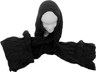 CG - Talento Fiorentino, sciarpa invernale in maglia con cappuccio col. Nero, unisex, fatta in Toscana, Made in Italy