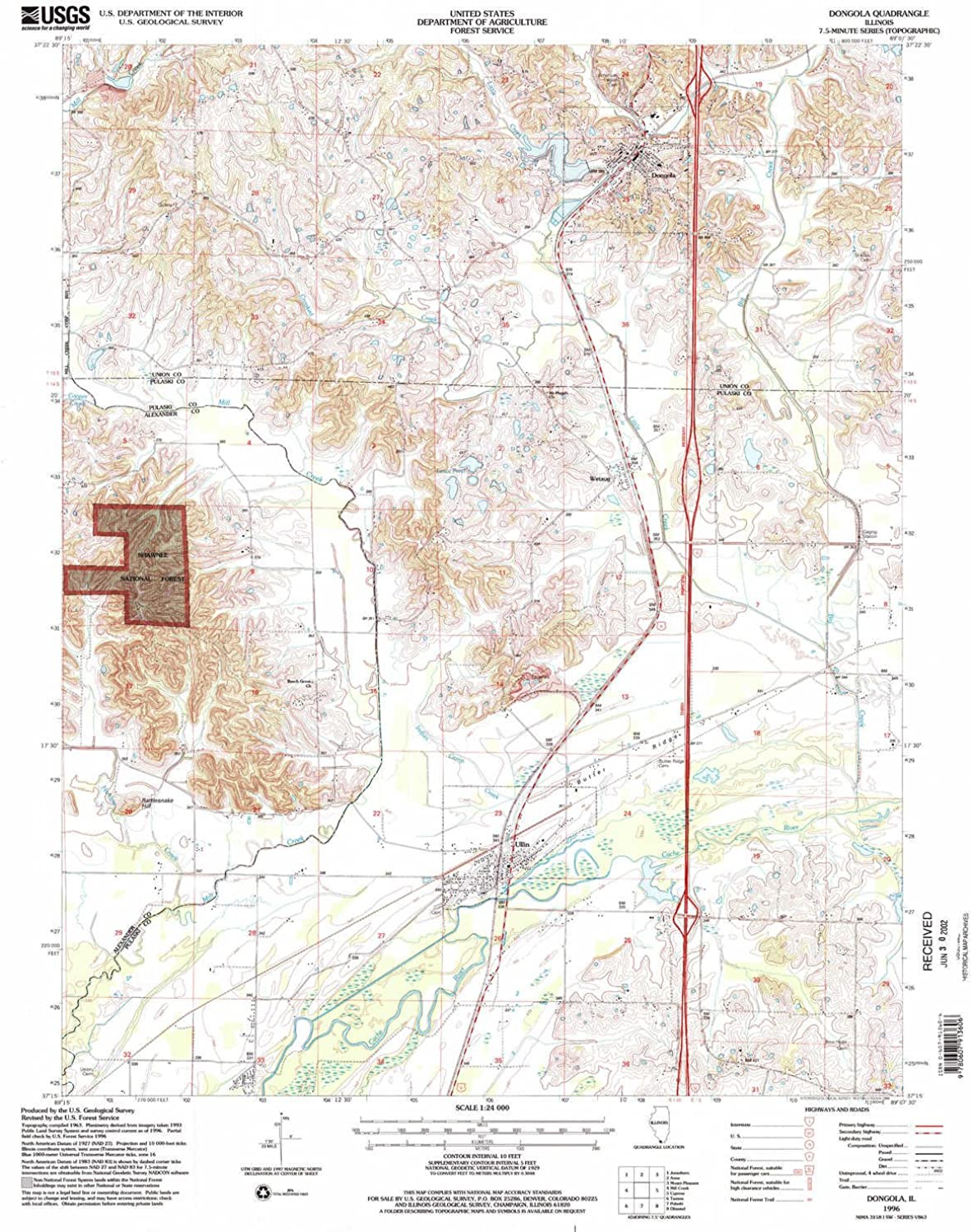 Dongola IL topo map, 1 24000 Scale, 7.5 X 7.5 Minute, Historical, 1996, Updated 1998, 27 x 21.9 in