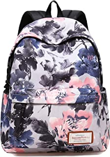 Classic Ink Flower Printing Backpack Water Resistant Laptop Backpack Polyster Bookbags School Bags Travel Daypack by VOLINER