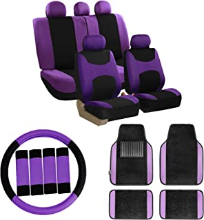 FH Group FB030115 Combo Set: Light & Breezy Cloth Seat Covers (Airbag & Split Ready) W. FH2033 + F14407 Floor Mats, Purple/Black-Fit Most Car, Truck, SUV, or Van
