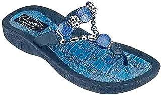 Grandco Beaded Denim Womens Thong Flip Flop Sandal