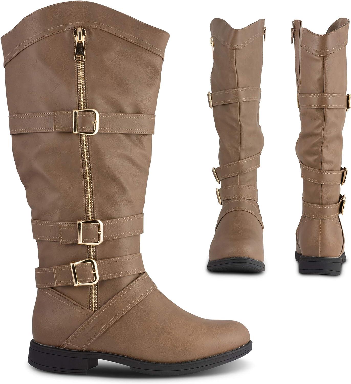 Twisted Amira Women's Zipper Knee High Boots, Wide Calf Low Heel Ladies Shoes
