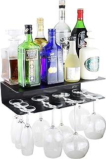 Etterr Meuble Bar Étagère murale pour verres et bouteilles. Fabriquée en Espagne. Noir