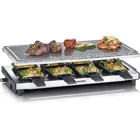 SEVERIN RG 2374 Raclette avec pierre de cuisson naturelle, Plastique, Acier Inoxydable, Noir