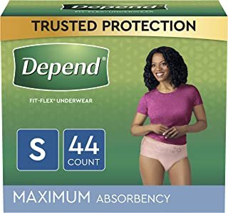 Depend FIT-Flex Incontinence Underwear for Women, Disposable, Maximum Absorbency, Small, Blush, Small 44 Count