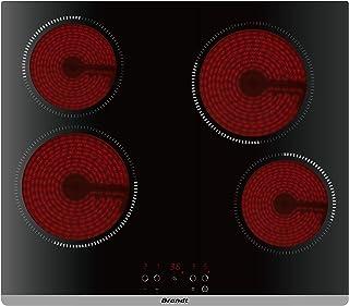 Brandt BPV6420B - Plaque Vitrocéramique - 4 foyers - Minuteur - 9 Niveaux de Cuisson - 6000W