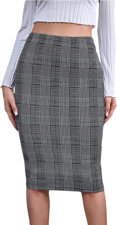 SOLY HUX Women's Houndstooth Plaid Elastic High Waist Midi Pencil Skirt