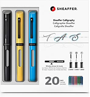Sheaffer Calligraphy Maxi Kit with Black, Yellow, and Blue Pens and Assorted Nibs and Inks