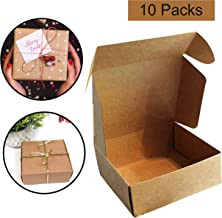 Kraft Gift Boxes (10 Pack) - 13x12x5cm Brown Kraft Favour Gift Presentation Box Suitable for Party, Wedding, Cookies, Candies, Jewelry