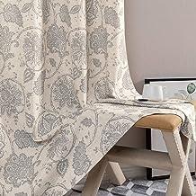 Paisley Scroll Printed Linen Curtains, Grommet Top – Medallion Design Jacobean..
