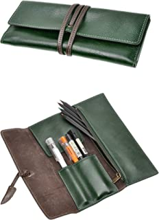 ZLYC Handmade Leather Pen Case Pencil Holder Soft Roll Wrap Bag Pouch Stationery Gift (Green)