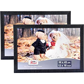 AJANTA ROYAL Big Photo Frames 12 x 18 Inch : A-185 (2 Qty, Black)